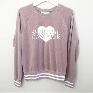 Spiritual Gangster Blush Velour Sweatshirt